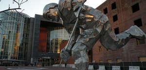 Giant Steel Hockey Player